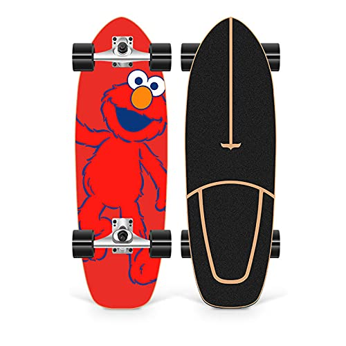 XKAI Surf Skates Skateboard Pumping Complete Beginner Board Longboard 75×23cm Maple Wood Deck CX4 Fancy Board para Adolescentes y Adultos, Rodamientos ABEC-11