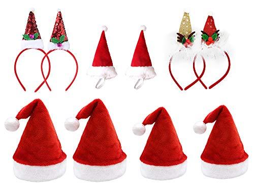 Pack 10 Gorro de Navidad de Papá Noel con Diadema en Diseño Navideño para Familiares Sombreros de Fiesta Año Nuevo Manualidades Accesorios de Navidad (Modelo A)