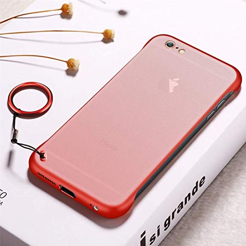 Personality Phone Case for iPhone 6 Plus Case, Frosted Anti-skidding TPU Protective Case with Metal Ring (Color : Red)