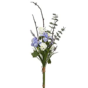42″ Handwrapped Iris, Snowball & Lavender Silk Flower Bouquet -Purple/White (Pack of 6)
