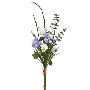"""Silk Flower Arrangements 42"""" Handwrapped Iris, Snowball & Lavender Silk Flower Bouquet -Purple/White (Pack of 6)"""