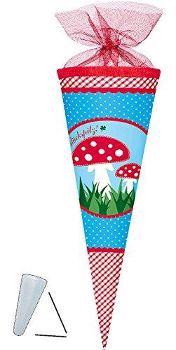 Schultüte - Adelheid  Glückspilz  - 70 cm - Filzabschluß - Zuckertüte - mit / ohne Kunststoff Spitze - für Mädchen & Jungen - Pilze - Punkte / Glück - Alles..