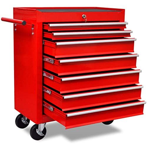 Susany Carro de Herramientas Taller Movil con 7 Cajones y 4 Ruedecillas (2 con Frenos) Armario Herramientas Taller Mecanico Rojo 690x330x772mm