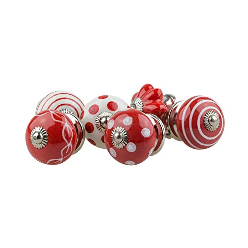 Möbelknopf Möbelknauf Möbelgriff 6er Set 069GN Kreise Punkte Pumpkin Weiß Rot - Jay Knopf Keramik Porzellan handbemalte Vintage Möbelknöpfe für Schrank, Schublade, Kommode, Tür
