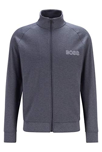 BOSS Herren Contemp. Jacket Z Loungewear-Sweatjacke aus Baumwolle mit Ottoman-Details