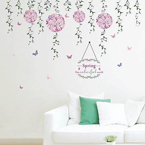 Etiqueta de la pared Nueva Primavera Flor Vine Boy Girl Niños Sala de estar Dormitorio Tv Fondo Decoración Del Hogar