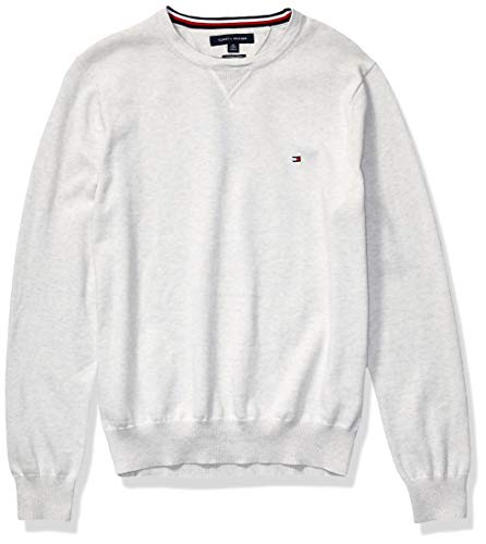 Tommy Hilfiger Men's Solid Crewneck Sweater, Bright White Heather, X-Large