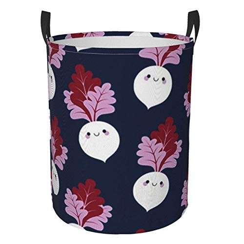 Just Life Cute White Beetroots Laundry Basket Circular Hamper Clothes Storage Bag Folding Bag for Clothes Toys