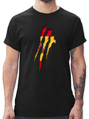 Länder - Spanien Krallenspuren - S - Schwarz - L190 - Tshirt Herren und Männer T-Shirts