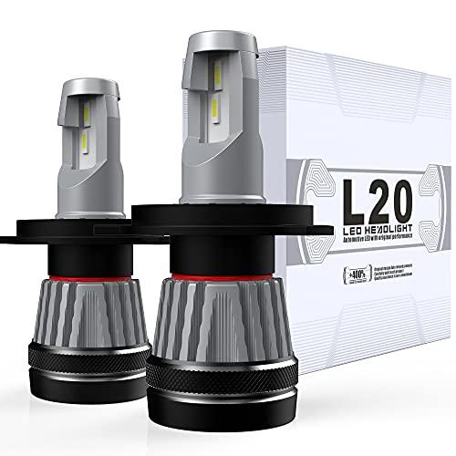 Bombillas H4 LED para Faros Delanteros 6000K Blanco 60W 8400LM Luz LED 9003 HB2 Ip68 Impermeable Reemplazo para Coche lámpara halógena 2 Pieza