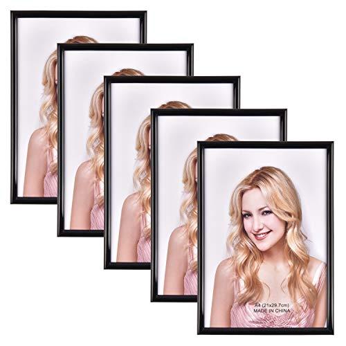 Alishomtll Bilderrahmen DIN A4 Bilderrahmen 5er Set, 21 x 29,7 cm, Schwarz Fotorahmen Kunststoffrahmen für Mehrere Bilder Fotos