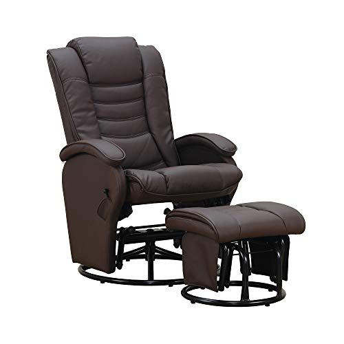Pearington Swivel Reclining Rocking Chair with Ottoman Brown