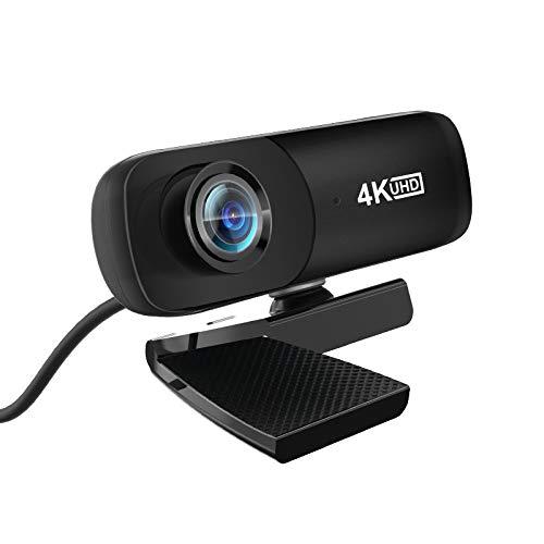 Webcams Telefonía VoIP 4K 4096 * 2160 cámara Web Web cámara Web con micrófono para la Conferencia de videollamadas de transmisión en Vivo de la computadora (Color : Black)