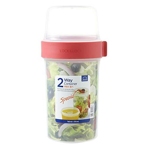 Lock & Lock Two-Way Müsli-to-go-Becher aus Kunststoff – Kleine Lunchbox mit Schraubdeckel und Zwei Behältern – 760 ml & 310 ml