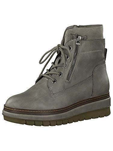 Tamaris Damen Stiefel, Frauen Schnürstiefel,Boots,Combat Boots,Schnürung,Grey MATT,38 EU / 5 UK