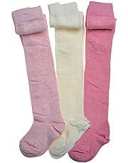 Paquete de 3 mallas de algodón para bebé, color rosa y crema