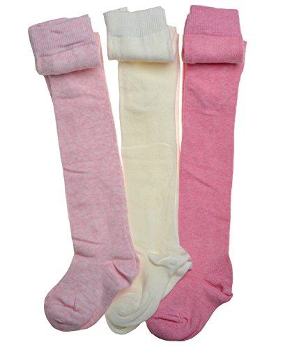 WB Socks n.3 paia di calzemaglia rosa e crema in puro cotone per bambini