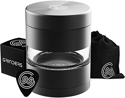 9to5 Grinders 5 Piece 2.2' Herb Spice Grinder – Pollen Catcher & Jar – REMOVABLE Stainless Steel Screen/Scraper/Travel Bag, Matte Black