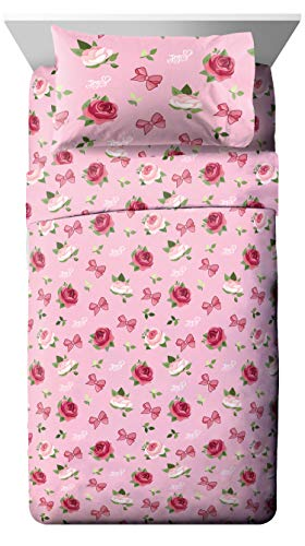 Jay Franco Nickelodeon JoJo Siwa Roses & Bows 4 Piece Twin Bed Set - Includes Reversible Comforter & Sheet Set - Super Soft Fade Resistant Polyester - (Official Nickelodeon Product)
