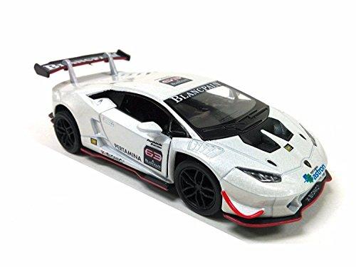 Kinsmart Lamborghini Huracan LP620-2 Super Trofeo Car 1:36 Escala Tire hacia atrás Acción Color Metálico (Blanco)