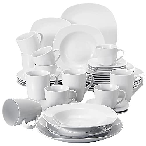 MALACASA Série Elisa, 36 Pcs Service de Table Porcelaine,Services Complets à Dinner, 6 Pcs * [Assiette Plat][Assiette Creuse][Assiette à Dessert][Tasse][Soucoupe] et [Mugs]