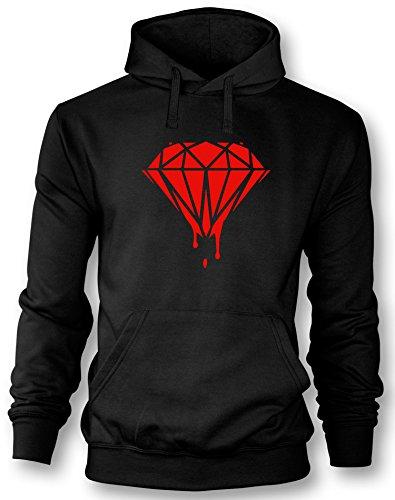 Angry Shirts Blood Diamond - Herren Hoodie Schwarz - Rot in Größe XL