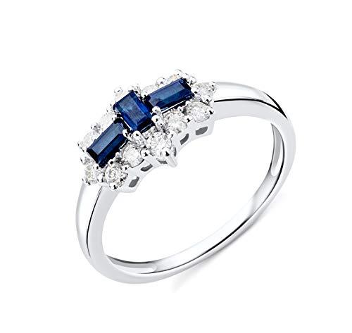 Miore Ring Damen Saphir und Diamant Verlobungsring Weißgold 9 Karat / 375 Gold mit blauer Saphir 0.62 Ct und Diamanten Brillanten 0.35 Ct, Schmuck