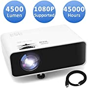 Mini Movie Projector, Jimwey 1080P Supported 4500 LUX Portable Video Projector, with 45000 Hrs LED Lamp Life, Compatible with TV Stick, PS4, HDMI, USB, AV, DVD for Home Entertainment [2020 Upgraded]