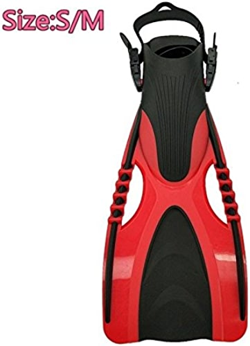 ZYQY Réglable Natation Palmes Adulte Court Plongée Chaussures Natation Palmes Cheville Professionnelle Plongée Palmes Talons, Rouge, S M