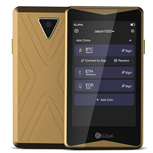 Hardware Cryptocurrency Wallet - Ellipal Cold Wallet Gold Titan, Air-gapped & Internet Isolated, Anti-Tampering, Supporting Multi-Currency, w/Mnemonics Card, Ideal for BTC XRP ETH XLM USDT LTC Dash