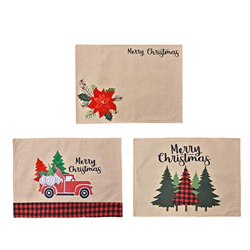 Set of 6 Linen Christmas Placemats with 3 Colorful Patterns - Heat Insulation Non-Slip Holiday Table Mats for Dining Party