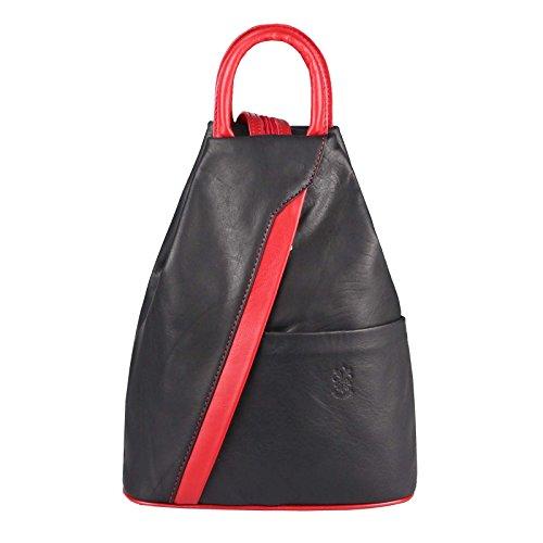 OBC Made in Italy Damen Echtleder Rucksack Daypack Lederrucksack Tasche Schultertasche Stadtrucksack Backpack Ledertasche Rucksack Handtasche Nappaleder (Schwarz-Rot)