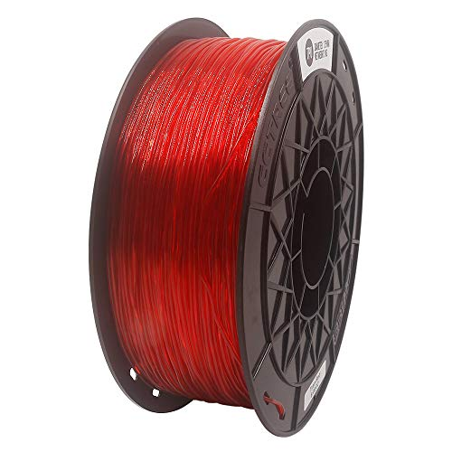 CCTREE Easy Print TPU Flexible Filament 1.75 mm 1 kg Spool, Upgrade Stronger Toughness Printing Accuracy +/- 0.03 mm For 3D Printer Creality Ender3v2, Anycubic Mega 3D Printer (Tran-Red)