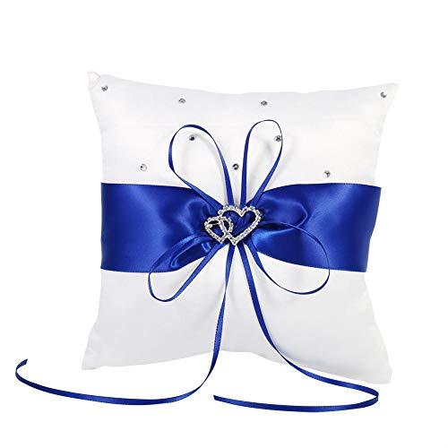 EBTOOLS Cojín bordado para alianzas nupciales, con 2 corazones de brillantes, 20 x 20 cm (azul)