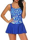 Ekouaer Swimsuit for Women One Piece Skirted Retro Bathing Suit Boyshorts Swimsuit Swimdress Blue