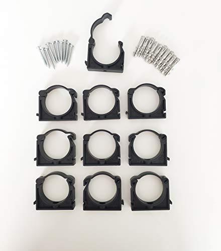 Lot de 10 Colliers de fixation tuyaux PVC Clip PP 50mm 5cm 50 mm
