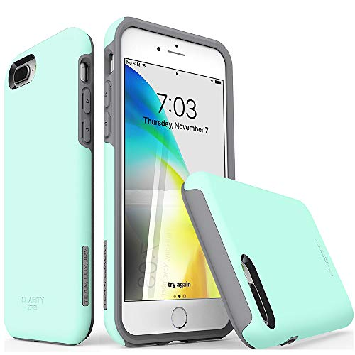 TEAM LUXURY iPhone 7 Plus case/iPhone 8 Plus case, [Clarity Series] Updated [G-III] Ultra Defender TPU + PC Shock Absorbent Protective Case - for Apple iPhone 7 Plus & 8 Plus 5.5' (Soft Mint/Gray)