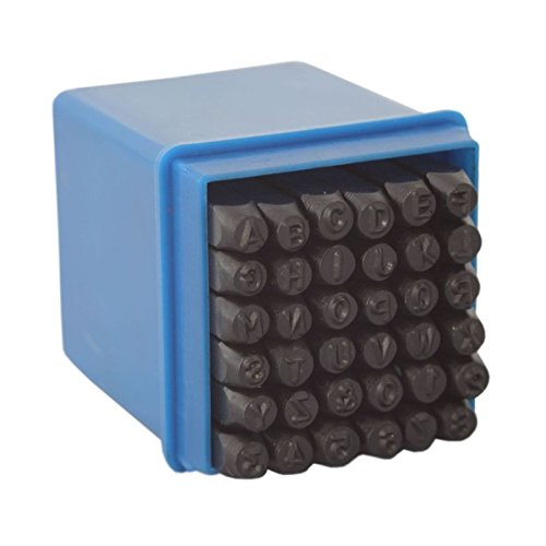 36 tlg. 4mm (A-Z / 0-9) Schlagbuchstaben | Schlagzahlen | Buchstaben & Zahlen Set | Schlagstempel Satz inkl. Aufbewahrungsbox