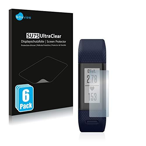 savvies Protector Pantalla Compatible con Garmin Vivosmart HR+ (6 Unidades) Película Ultra Transparente