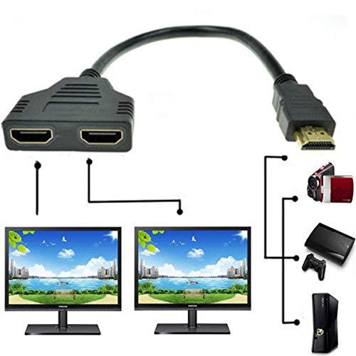 DSHS 1080P HDMI Macho a Doble HDMI Hembra 1 a 2 vías Adaptador de Cable Divisor para Reproductores de DVD/PS3/HDTV/STB y la mayoría de proyectores LCD (Negro)