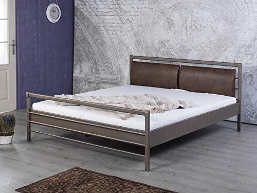 Bett, Metallbett Aurora 180 x 200 cm gepolstertes Kopfteil Graphit braun Kupfer gewischt