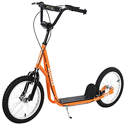 Aosom Youth Kick Scooter Adjustable Handlebar Teens Ride On Toy for 5+ w/ Front and Rear Dual Brakes Inflatable Wheels, Orange