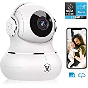 Indoor Camera, Littlelf 1080P Wireless WiFi Home Security IP Camera for Pet/Baby Monitor with Motion Detection/Tracking, 2-Way Audio, Night Vision and Cloud Storage, Work with Alexa (Gold)