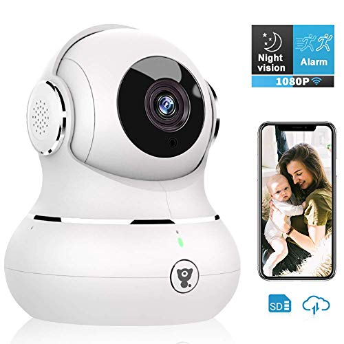 Indoor Camera, Littlelf 1080P Wireless WiFi Home Security IP Camera for Pet/Baby Monitor with Motion Detection/Tracking, 2-Way Audio, Night Vision and Cloud Storage, Work with Alexa (White)