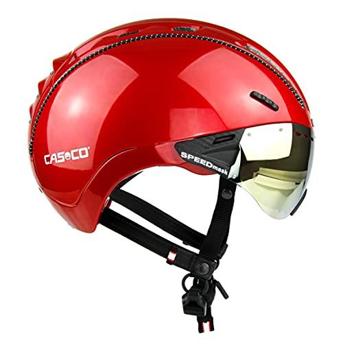 Casco Roadster Plus - Casco da ciclismo da uomo, colore rosso lucido, taglia S-M
