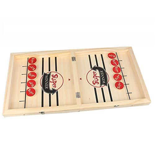 Dfttg Schnelles Sling Puck-Spiel,Funny Holz-Brettspiel,Table Fast Paced Winner Board Games Toys Portable Faltbar,2 In 1Katapult Schach Schachausgabe.