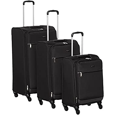AmazonBasics Softside Spinner Luggage - 3 Piece Set (21 , 25 , 29 ), Black