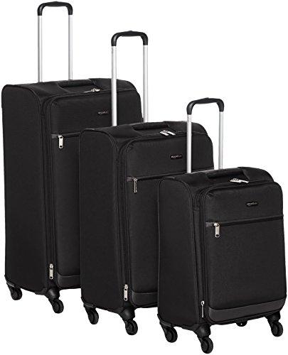 Amazon Basics Juego de maletas blandas giratorias, (53cm, 64cm, 74cm), Negro