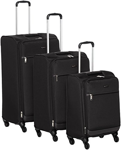 AmazonBasics - Roll-Reisetrolley, 3-teiliges Set, 53 cm, 64 cm, 79 cm, Schwarz