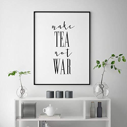 Thee citaat afdrukken maken thee niet oorbellen thee liefhebbers cadeau keuken drukbare thee party keuken citaat keuken muurkunst decor, maar eerste thee afdrukken